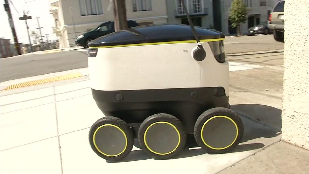 A self-driving delivery robot is seen in San Francisco, Calif. in this undated image.
