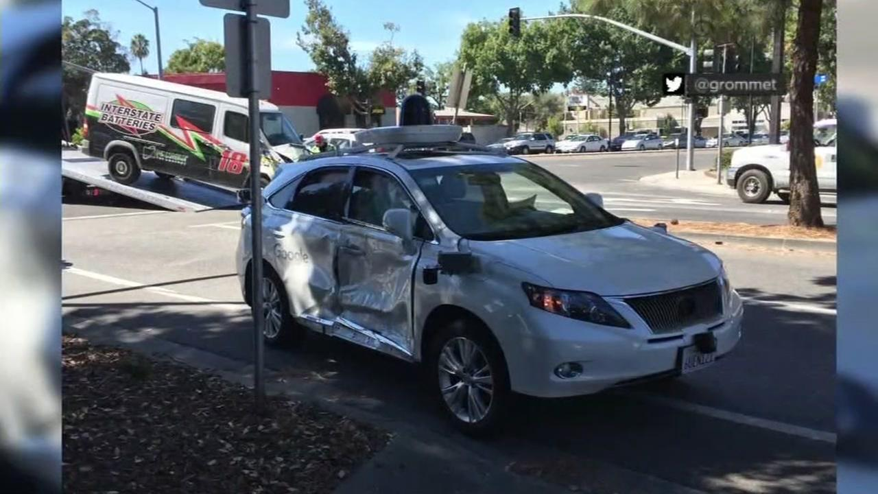 This image shows the damage that a Google Lexus sustained in a crash in Mountain View on Sept. 23, 2016.