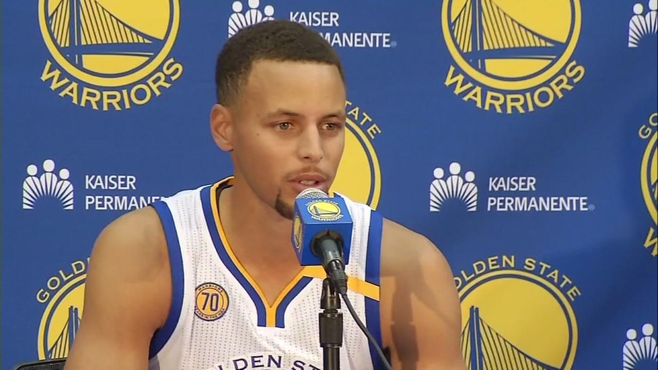 Golden State Warriors star Steph Curry is seen speaking at Media Day in Oakland, Calif. on Monday, September 26, 2016.