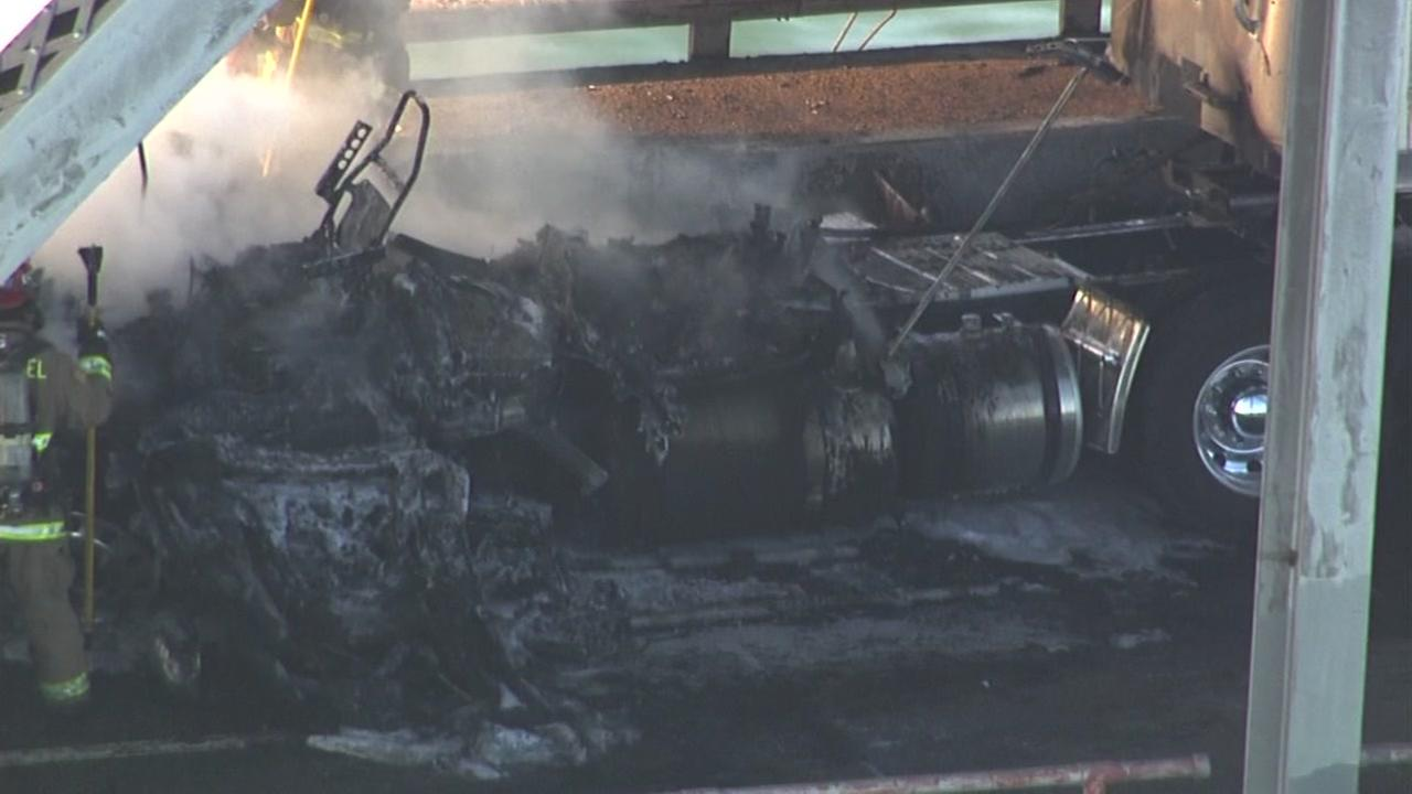 This image shows a big-rig that crashed and caught fire on the eastbound lanes of the San Rafael Bridge on Sept. 27, 2016.