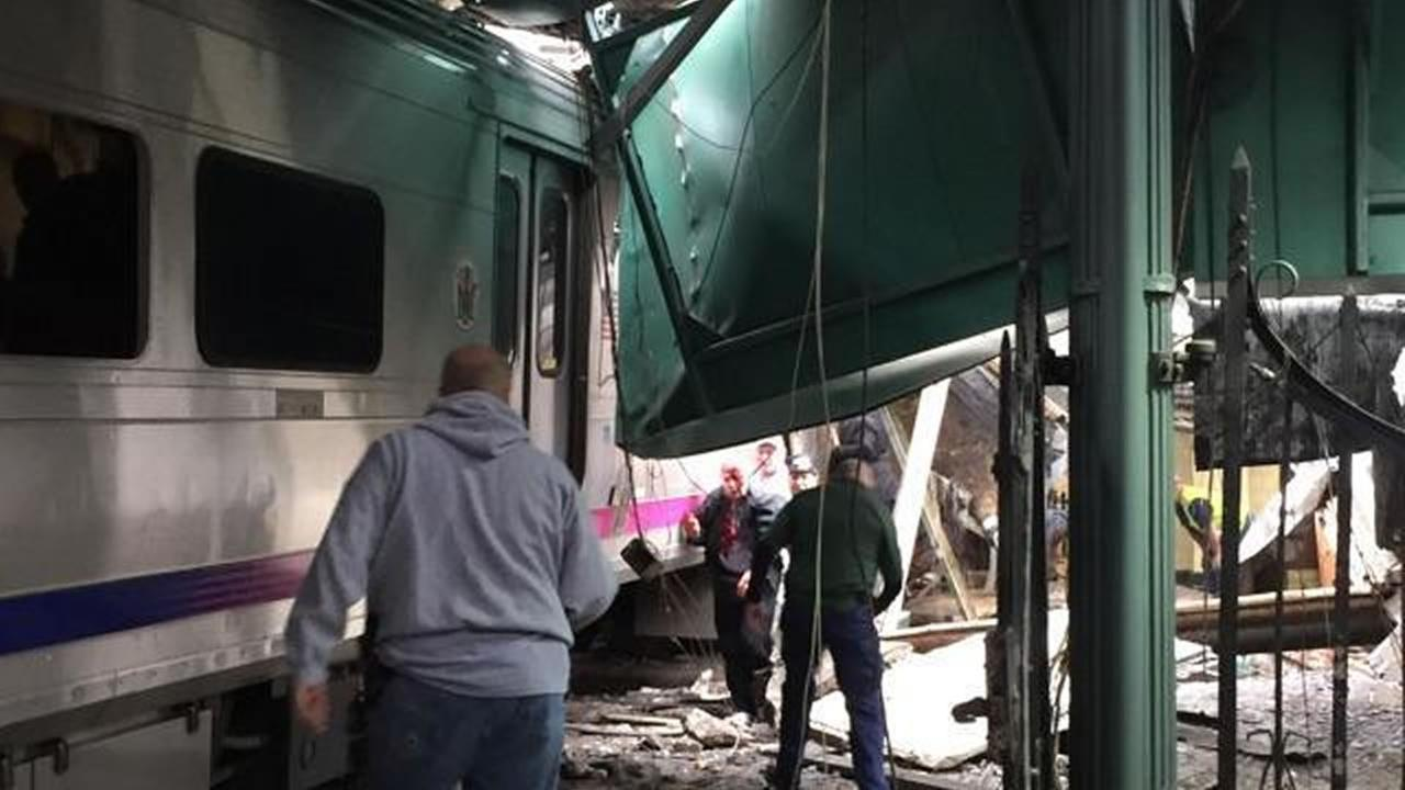 his Thursday, Sept. 29, 2016 photo provided by a passenger who was on the train when it crashed shows wreckage at the Hoboken, N.J. rail station.