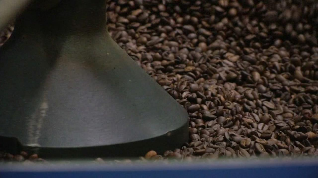 Coffee beans seen inside a roaster at a Philz Coffee roasting facility in San Francisco, Calif. on Thursday, September 29, 2016.