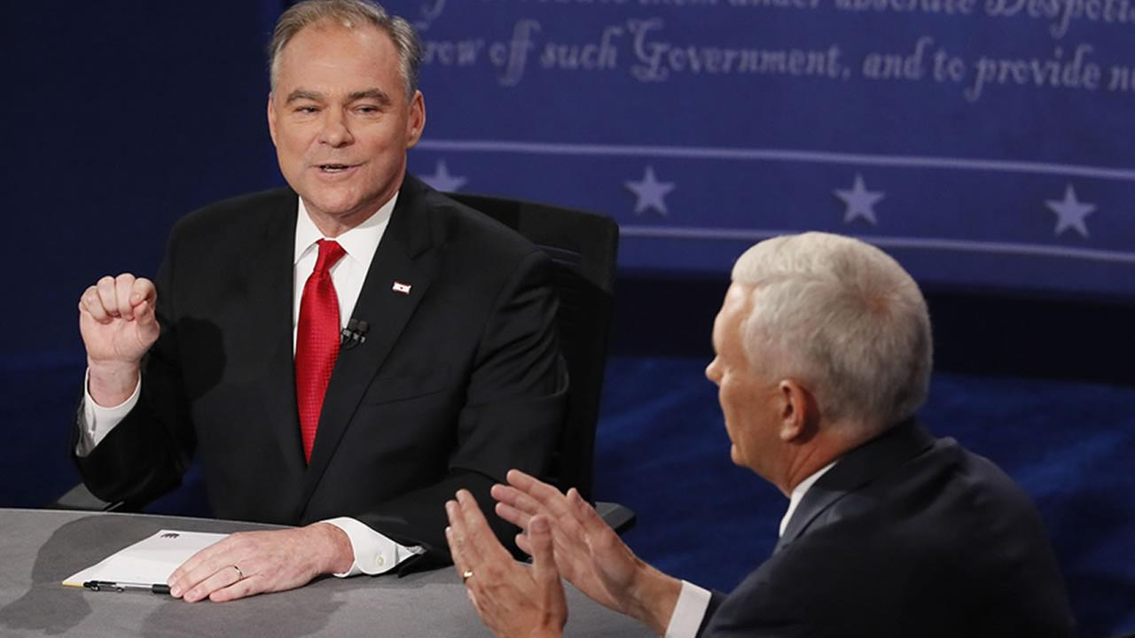 Republican vice-presidential nominee Gov. Mike Pence, right, and Democratic vice-presidential nominee Sen. Tim Kaine debate during the vice-presidential Oct. 4, 2016.