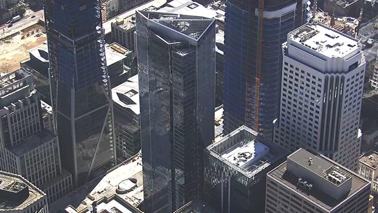 This aerial image shows the Millennium Tower in San Francisco.