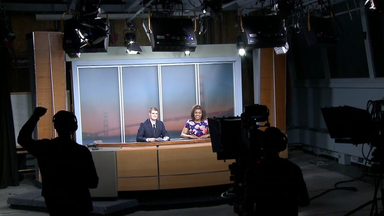 This image shows San Francisco State University students on the old ABC7 news set during the broadcast of their weekly news program called State of Events.