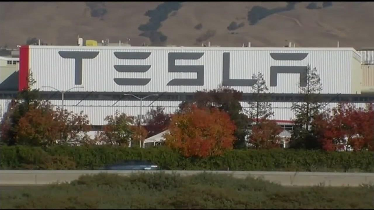 A Tesla plant is seen in Fremont, Calif. in this undated image.