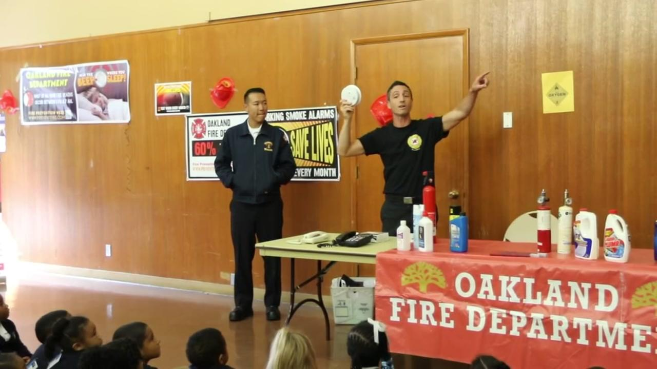 Oakland firefighters holds a public safety event for children as part of National Fire Prevention Week on Oct. 11, 2016.