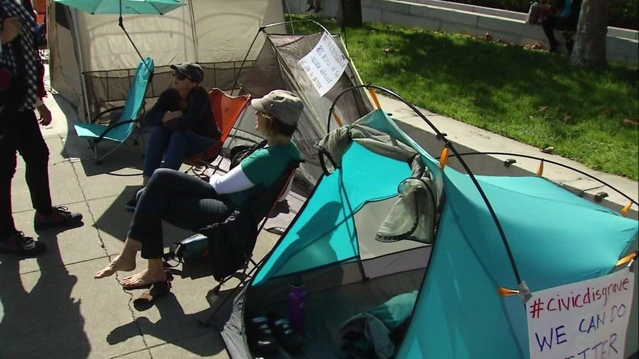 San Francisco residents set up tents in front of city hall to protest against homeless encampments throughout the city on Monday, October 17, 2016.