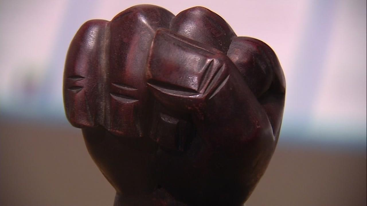 This image shows a sculpture representing the Black Panther movement on display at the Museum of California in Oakland, Calif.