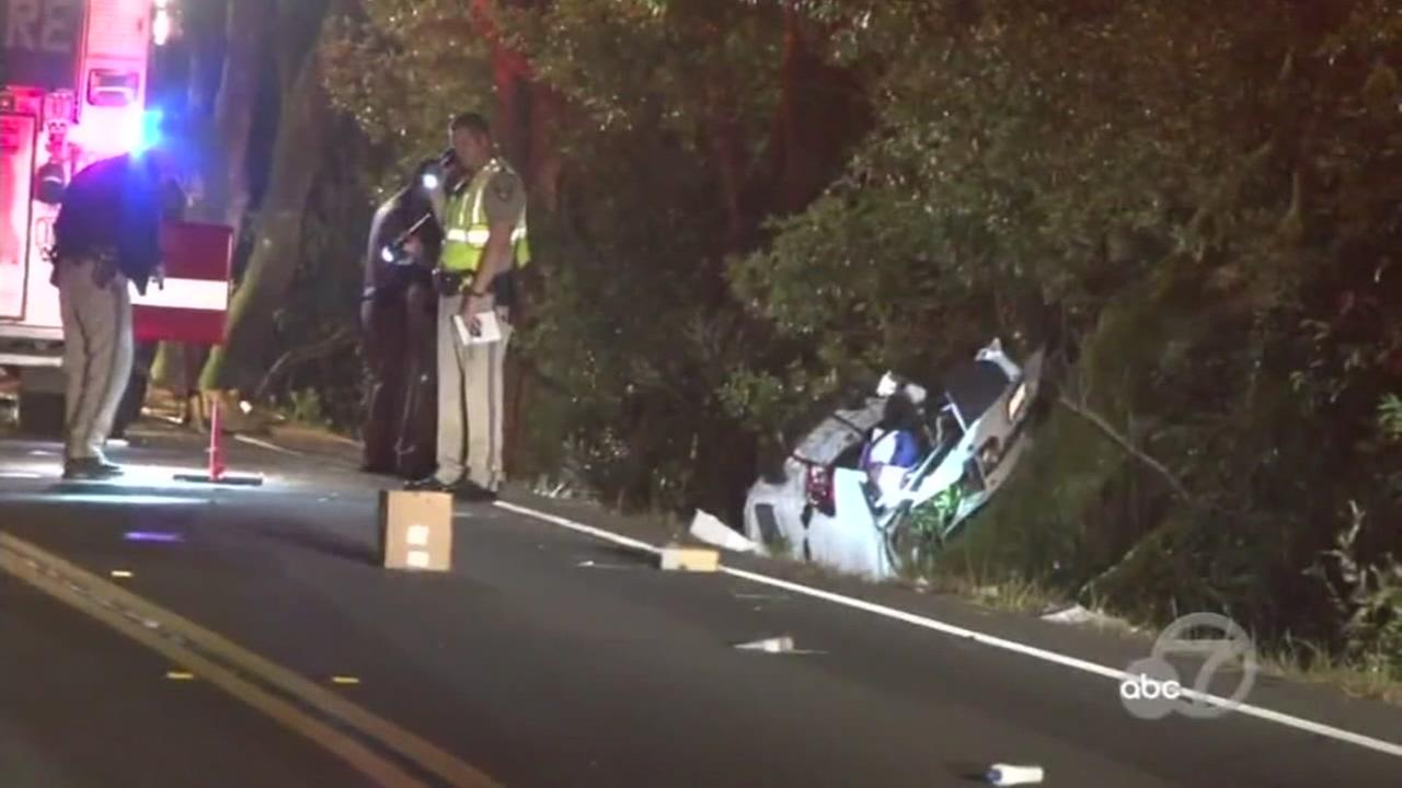 This image shows a car crash in Marin County that left three mean dead on Oct. 18, 2016.