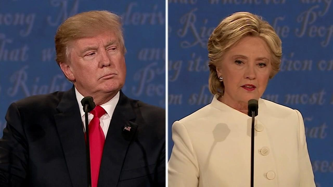 This split image shows Hillary Clinton and Donald Trump during the final debate in Las Vegas on Oct. 19, 2016.