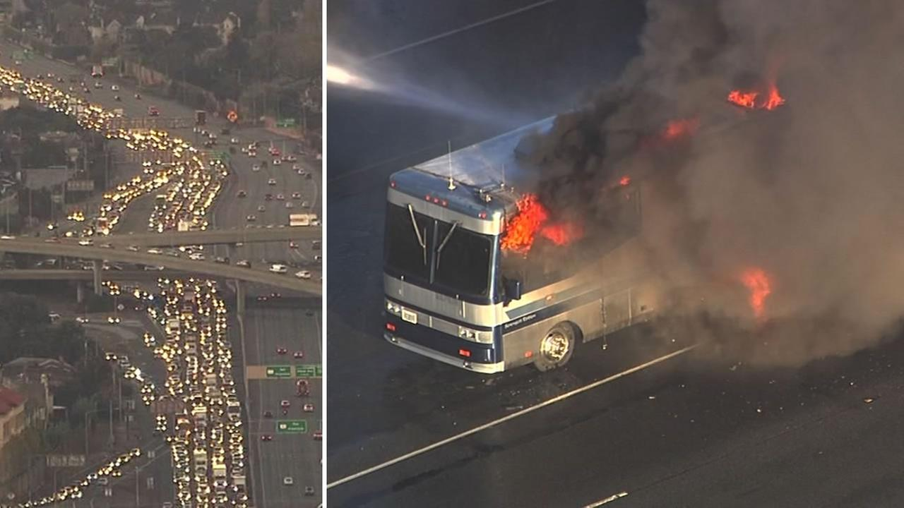 This split screen image shows the traffic backup on Highway 101 in San Carlos after an RV caught fire on Oct. 20, 2016.