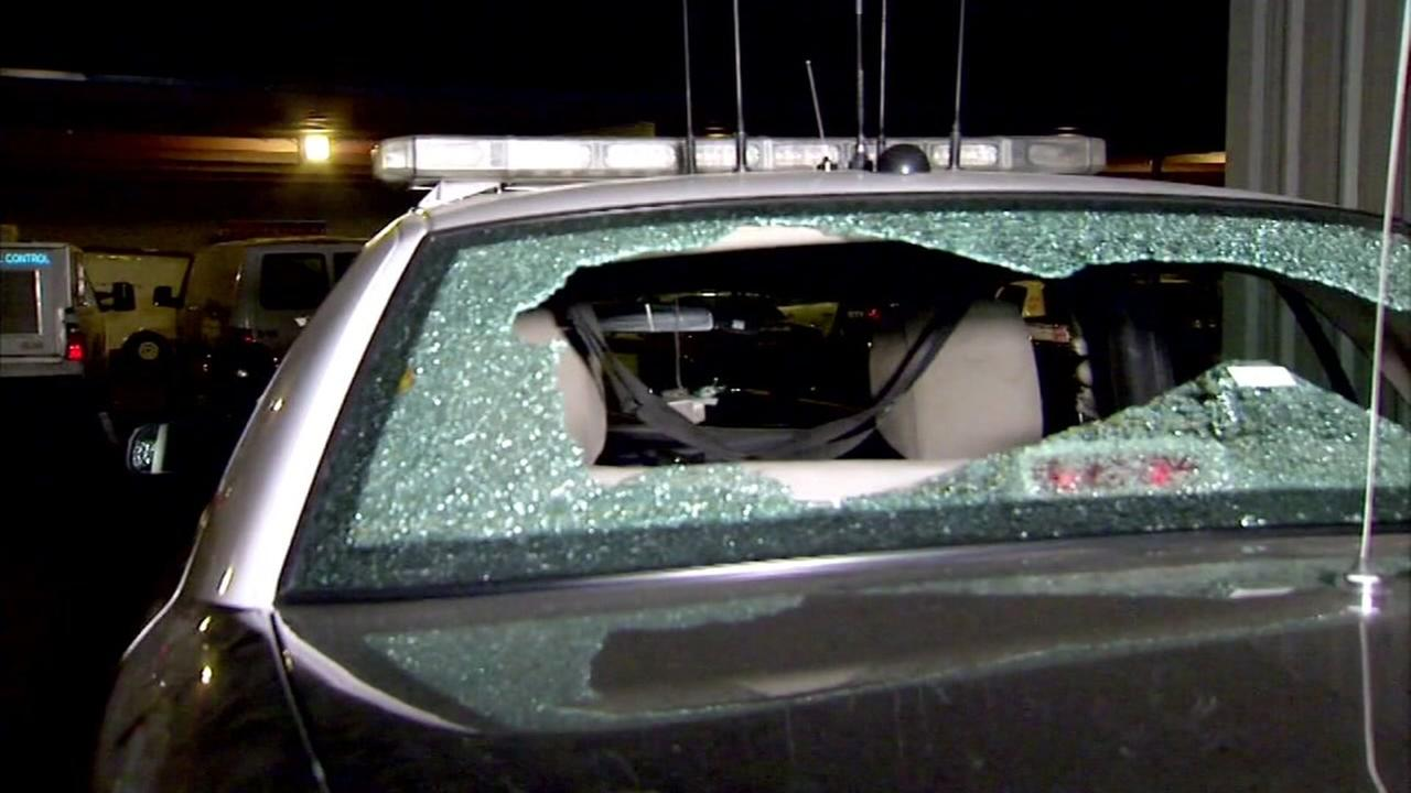 This undated image shows a shattered cop car in Madera, Calif.