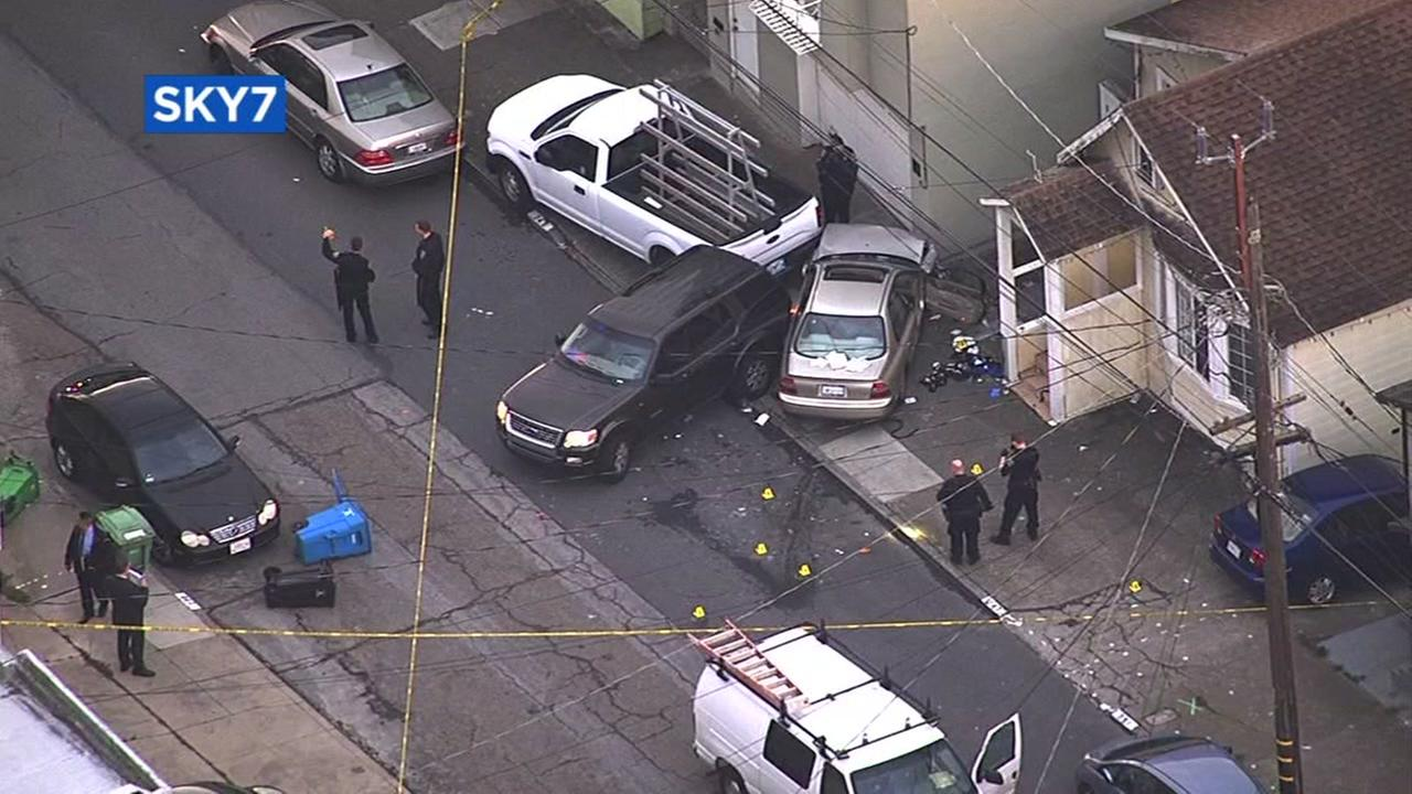 Police investigate an officer-involved shooting in San Francisco on Tuesday, Oct. 25, 2016.