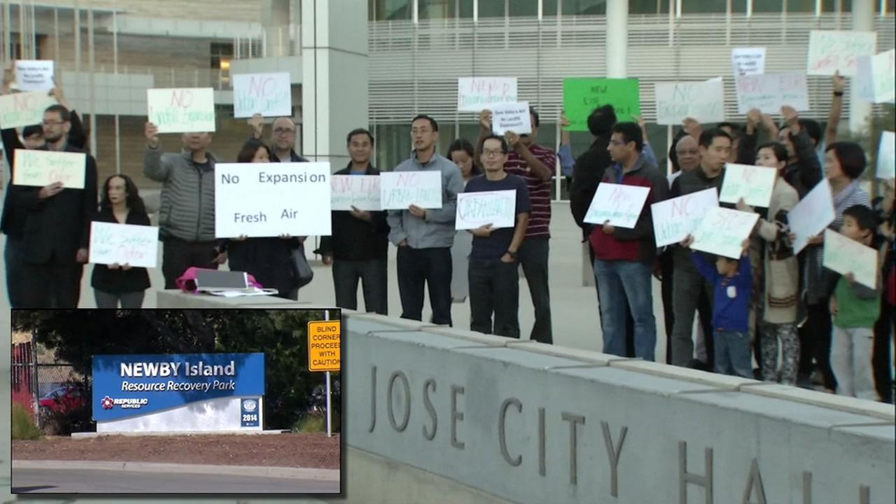 This image shows South Bay residents protesting the possible expansion of the Newby Island Resource Recovery Park on Oct. 26, 2016 in San Jose, Calif.