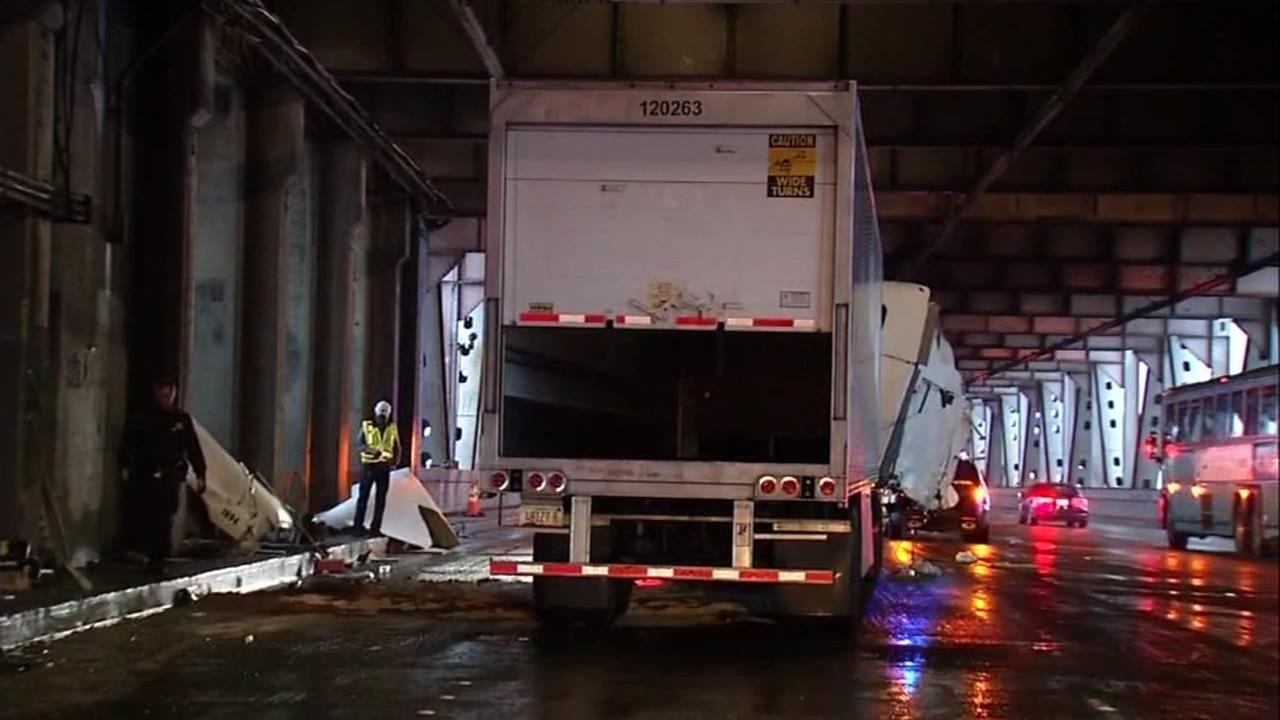 Big-rig crash, fuel leak causes enormous traffic jam on Bay Bridge