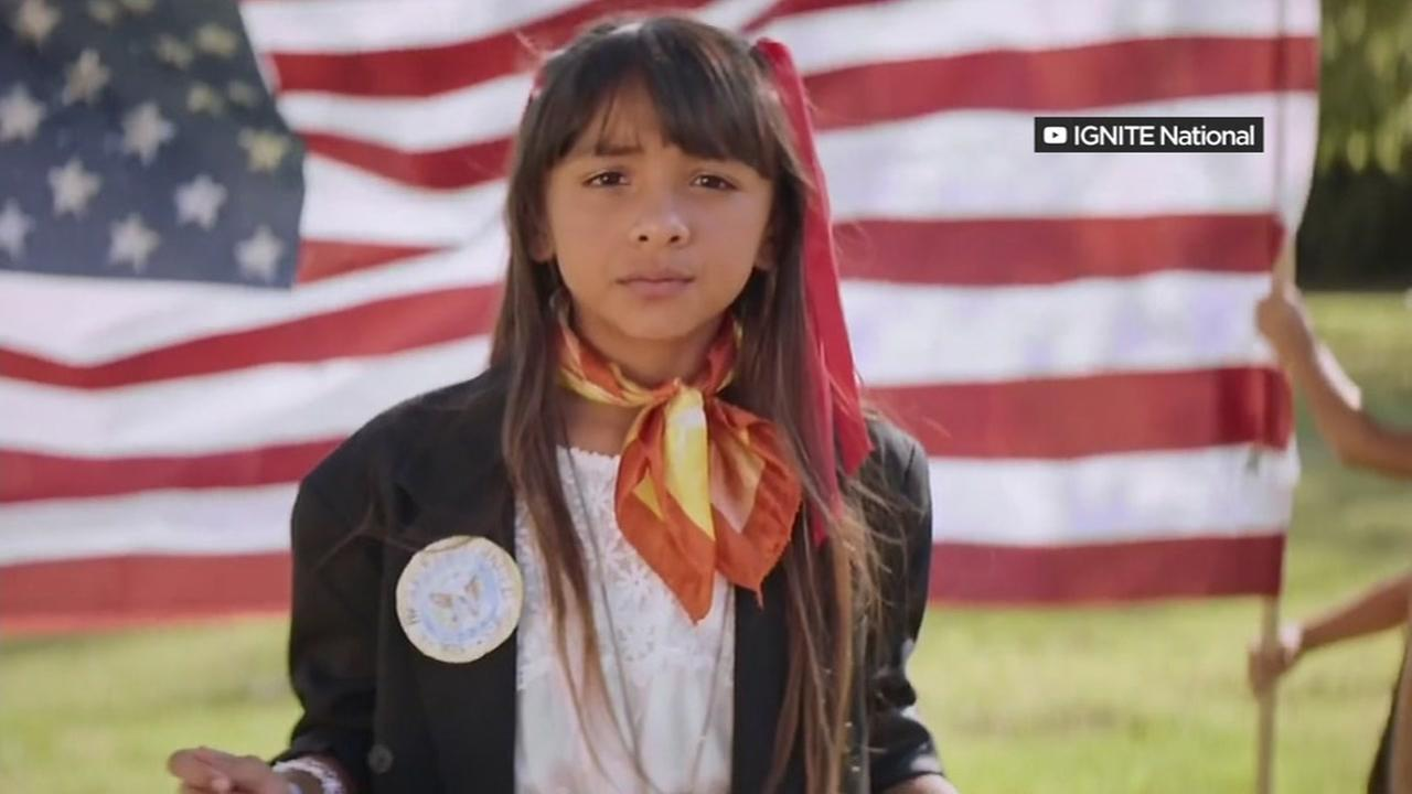 A girl is seen in an IGNITE campaign aimed at inspiring women to run for public office.