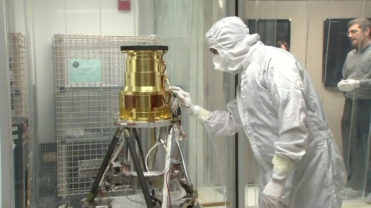 An early warning weather satellite by NASA is seen at the Lockheed Martin research lab in Palo Alto, Calif. on November 3, 2016.
