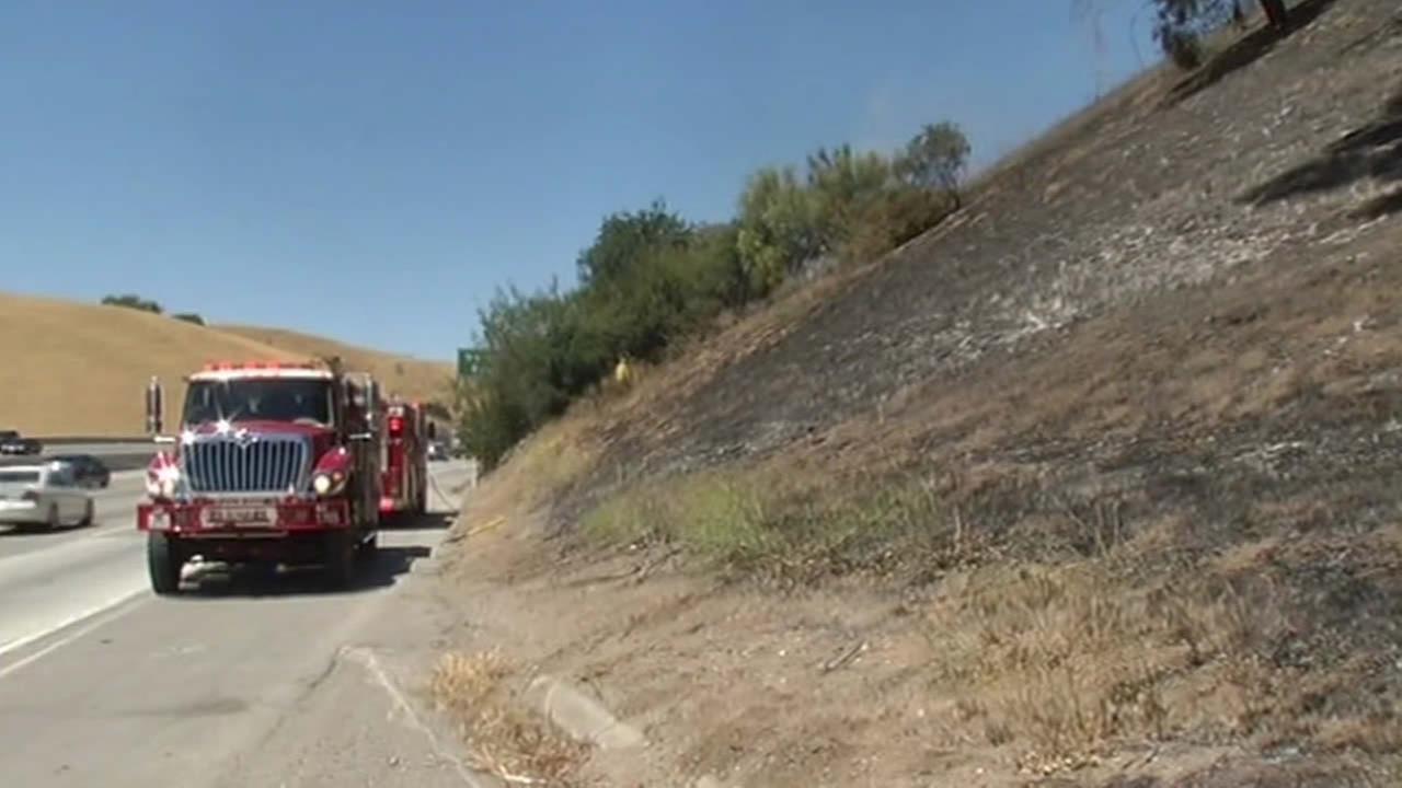 Fremont fire along I-680