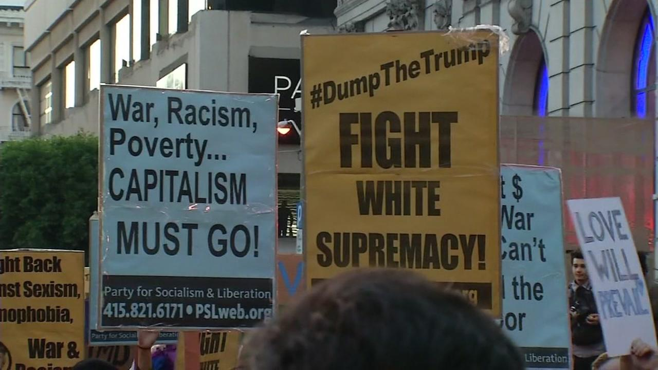 This image shows people protesting the President-elect Donald Trump on November 9, 2016 in San Francisco.