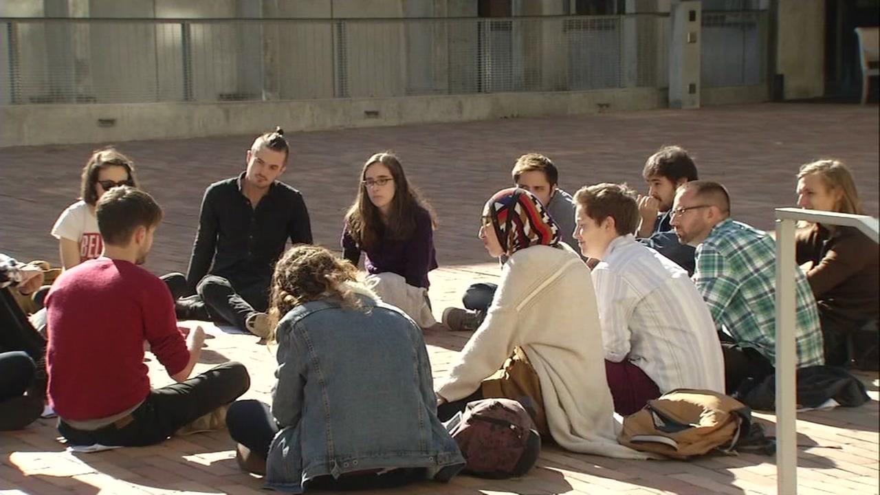 UC Berkeley students sit in a circle on campus on Nov. 17, 2016.
