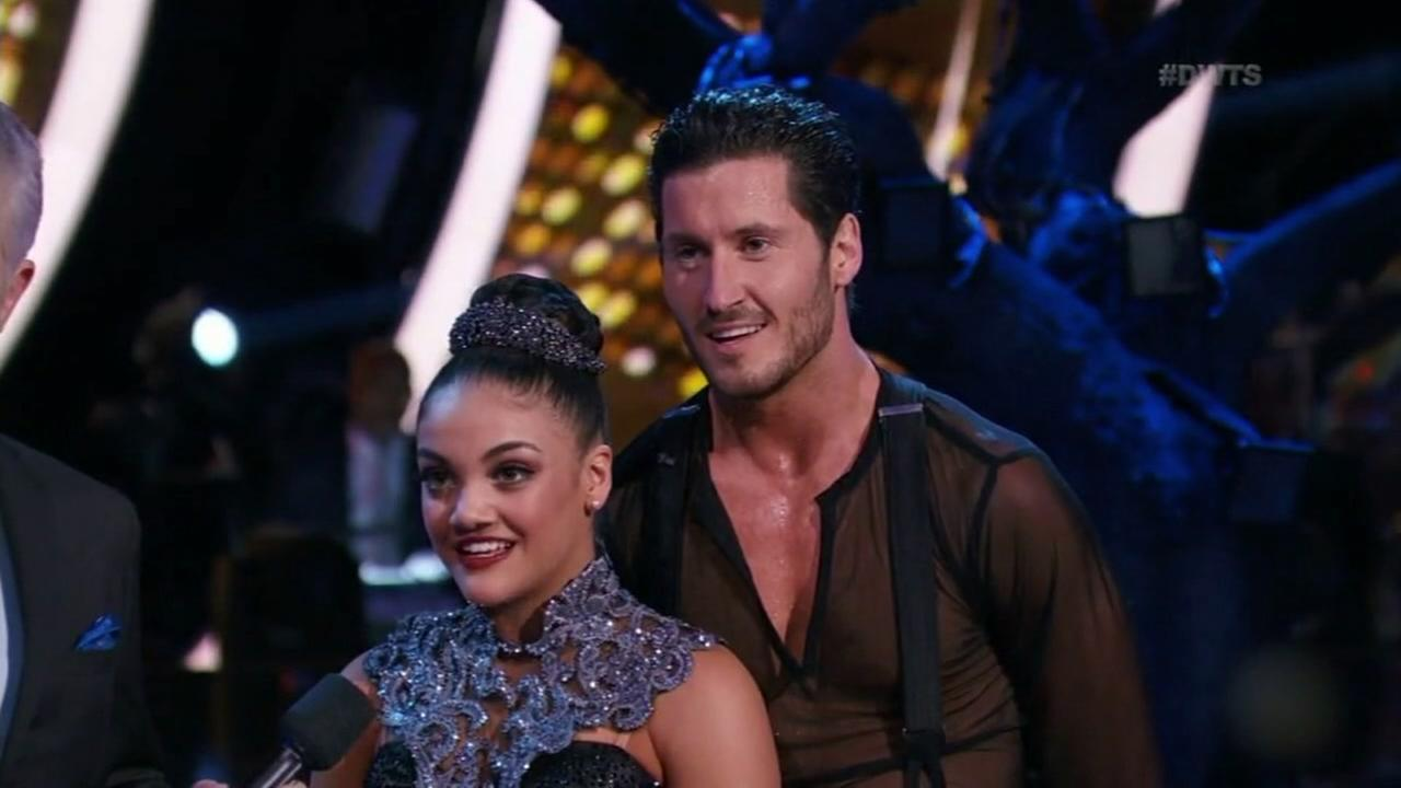 This image shows Olympian Laurie Hernandez and her pro partner is Val Chmerkovskiy on Dancing With the Stars.