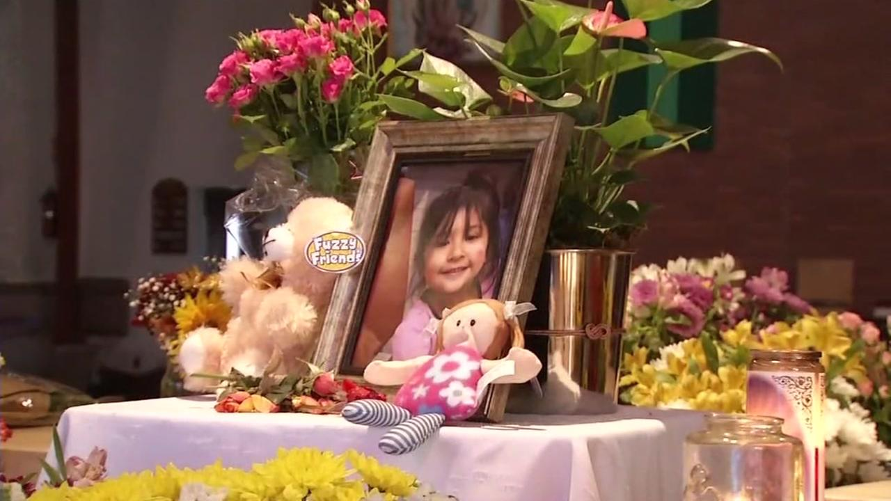 This image shows a memorial created for a 4-year-old girl who police say was drowned by her father in a baptismal pool in a Healdsburg church on Nov. 23, 2016.