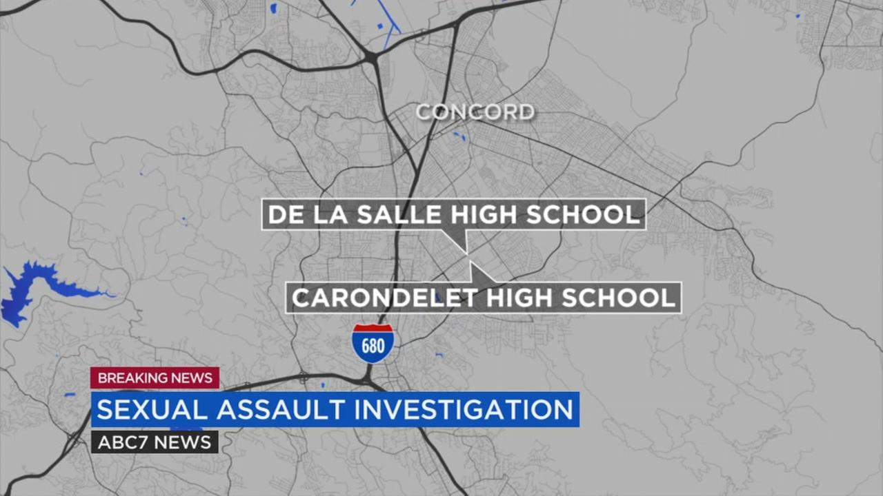 This map shows the location of De La Salle High School in Concord, Calif., where the alleged sexual assault is said to have taken place.