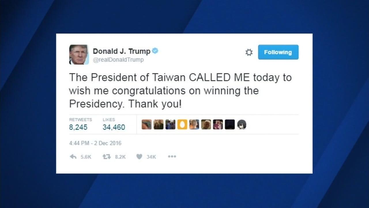 This is an undated screenshot of a tweet sent by President-elect Donald Trump.