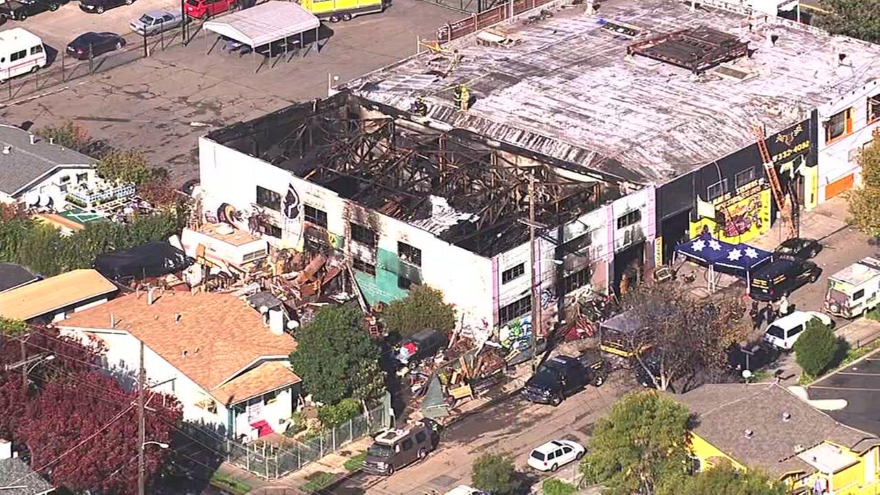 A massive fire at Ghost Ship warehouse in Oakland, Calif. on Friday, Nov. 2, 2016 has killed at least nine people.