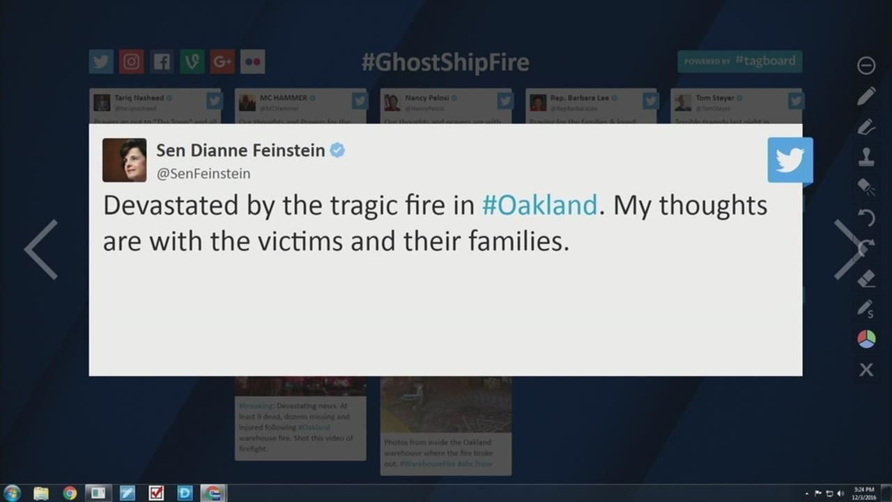 Celebrities and politicians react on social media to Oakland fire