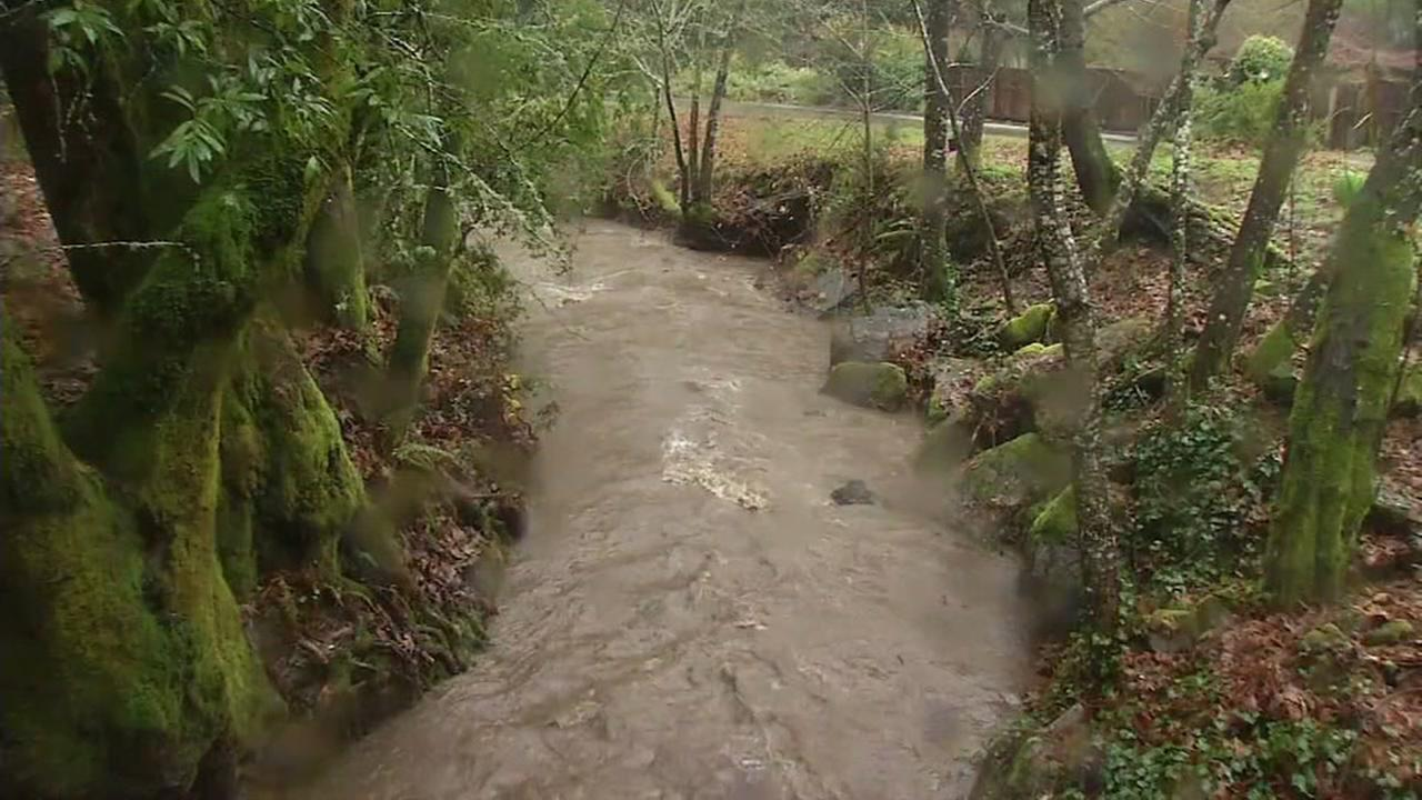 Water floods areas of the Santa Cruz mountains on Dec. 15, 2016.