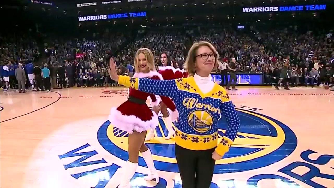 Robin Schreiber is seen dancing at a Golden State Warriors game in Oakland, Calif. on Tuesday, December 21, 2016.