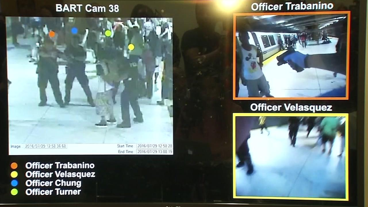 BART bodycam video of officers with Michael Smith and Andrea Appleton are seen in this undated image.