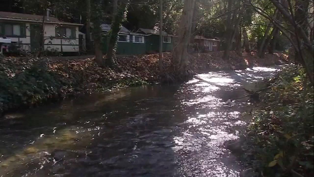 This is an undated image of a creek in San Jose.