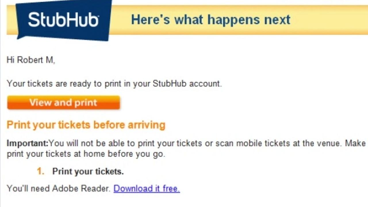 This is an undated screenshot of a StubHub email.