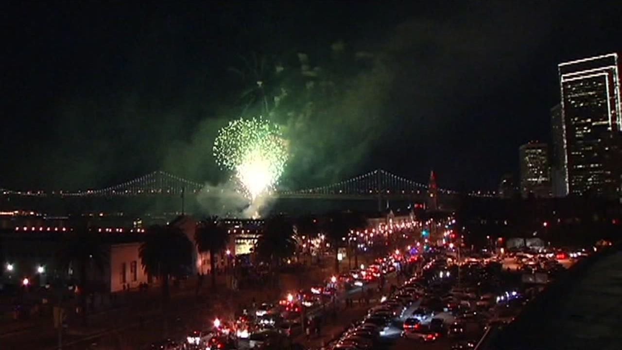A New Years Eve fireworks show is seen in San Francisco, Calif. on December 31, 2015.