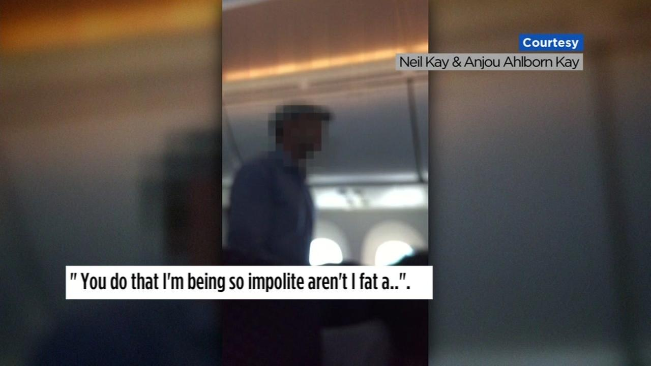 Cellphone video shows a man on a San Francisco-bound flight in this undated image.