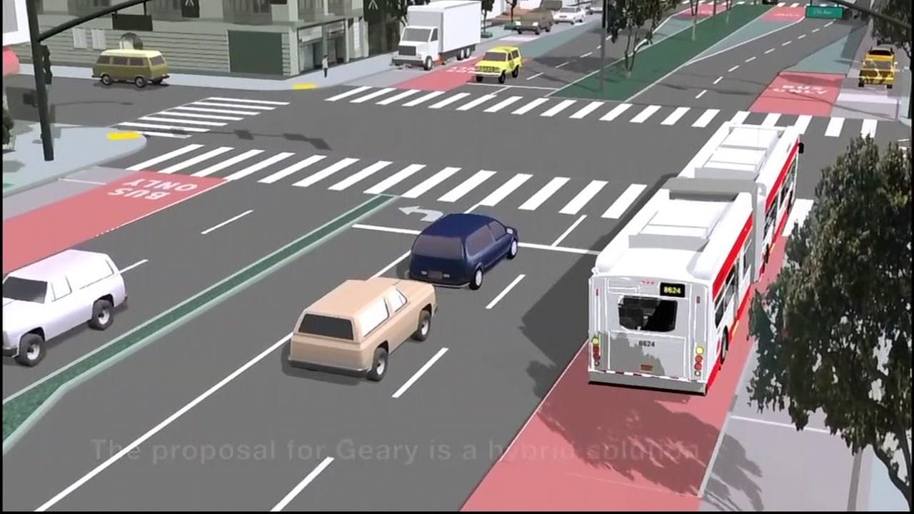 A rendering of a proposed Geary Boulevard rapid bus transit project is seen in this undated image.