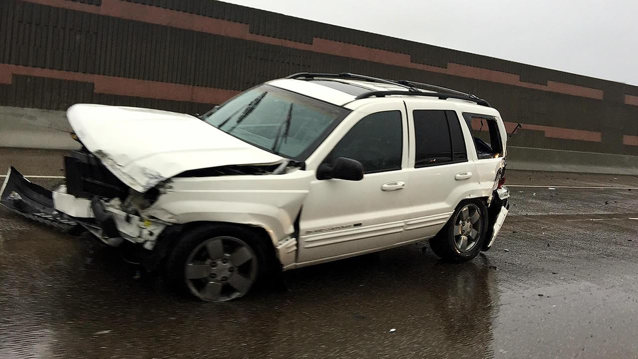 An SUV is seen after crashing on northbound I-880 in West Oakland on Sunday, January 8, 2017.Photo submitted to KGO-TV by Vanessa Guerra