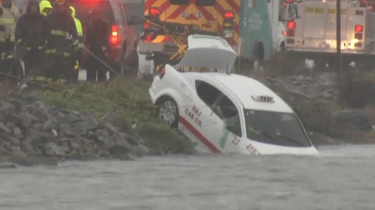 One man was rescued after a car was submerged in Oakland, California, Sunday, January 8 , 2017.