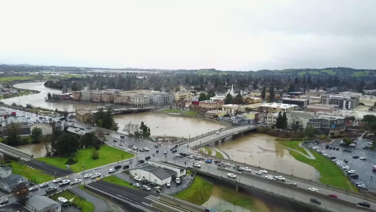 Drone video captures Napa River rising as a major storm moved through the Bay Area on Sunday, January 8, 2017.