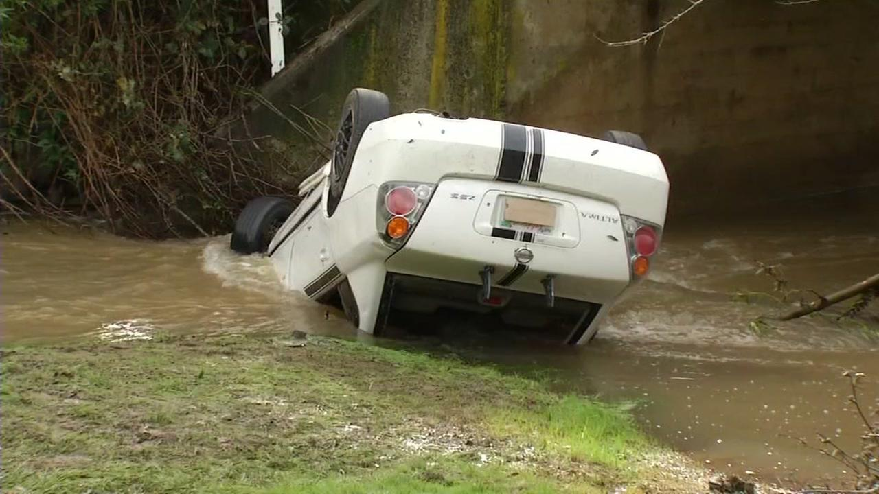 A man died when he crashed his car into a creek in Novato, Calif. on Monday, January 9, 2017.