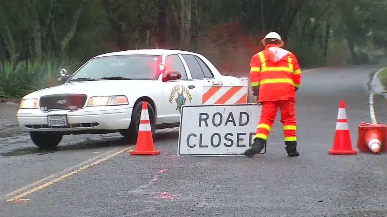 Crews shut down Highway 128 near Healdsburg due to mudslides on Tuesday January 10, 2017.