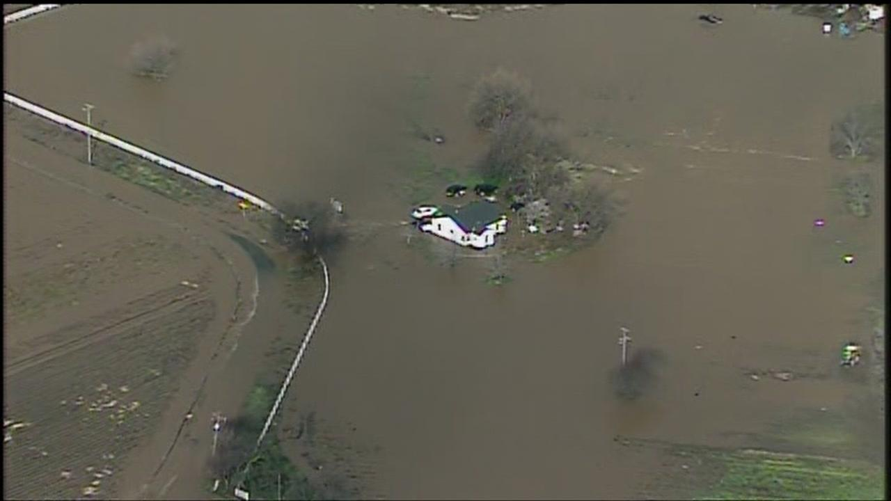 Sky7 was overhead flooding in Hollister, Calif. on Wednesday, January 11, 2017.