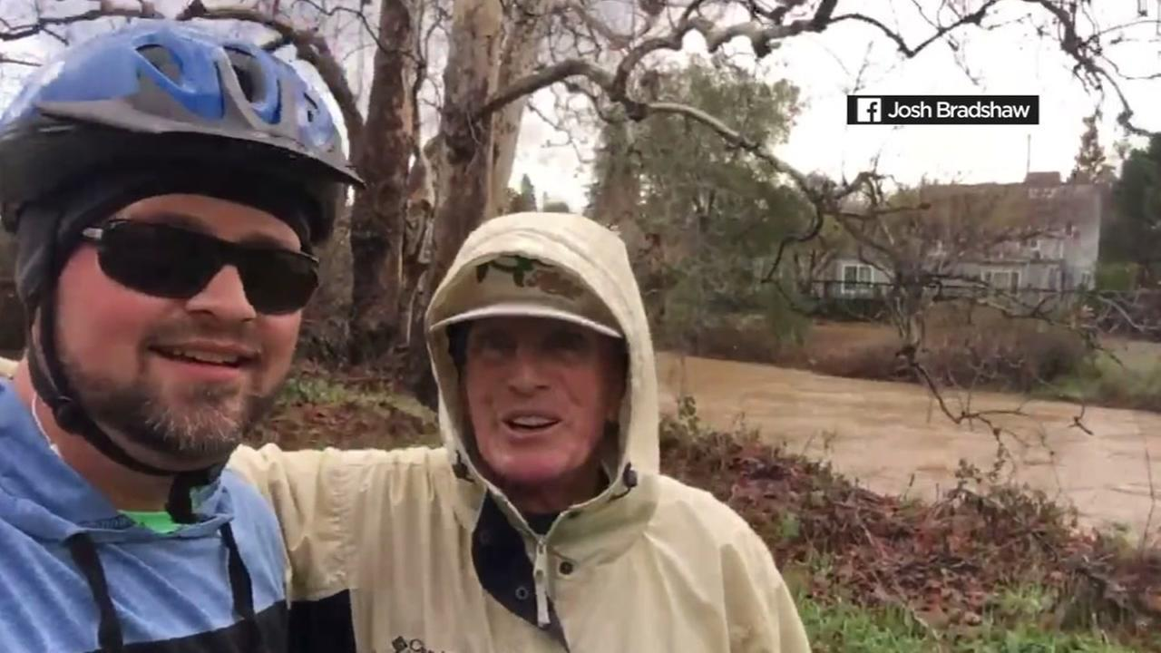 A cyclist in Santa Clara County pulled a man from the rushing waters of Los Gatos Creek on Wednesday, January 11, 2017.