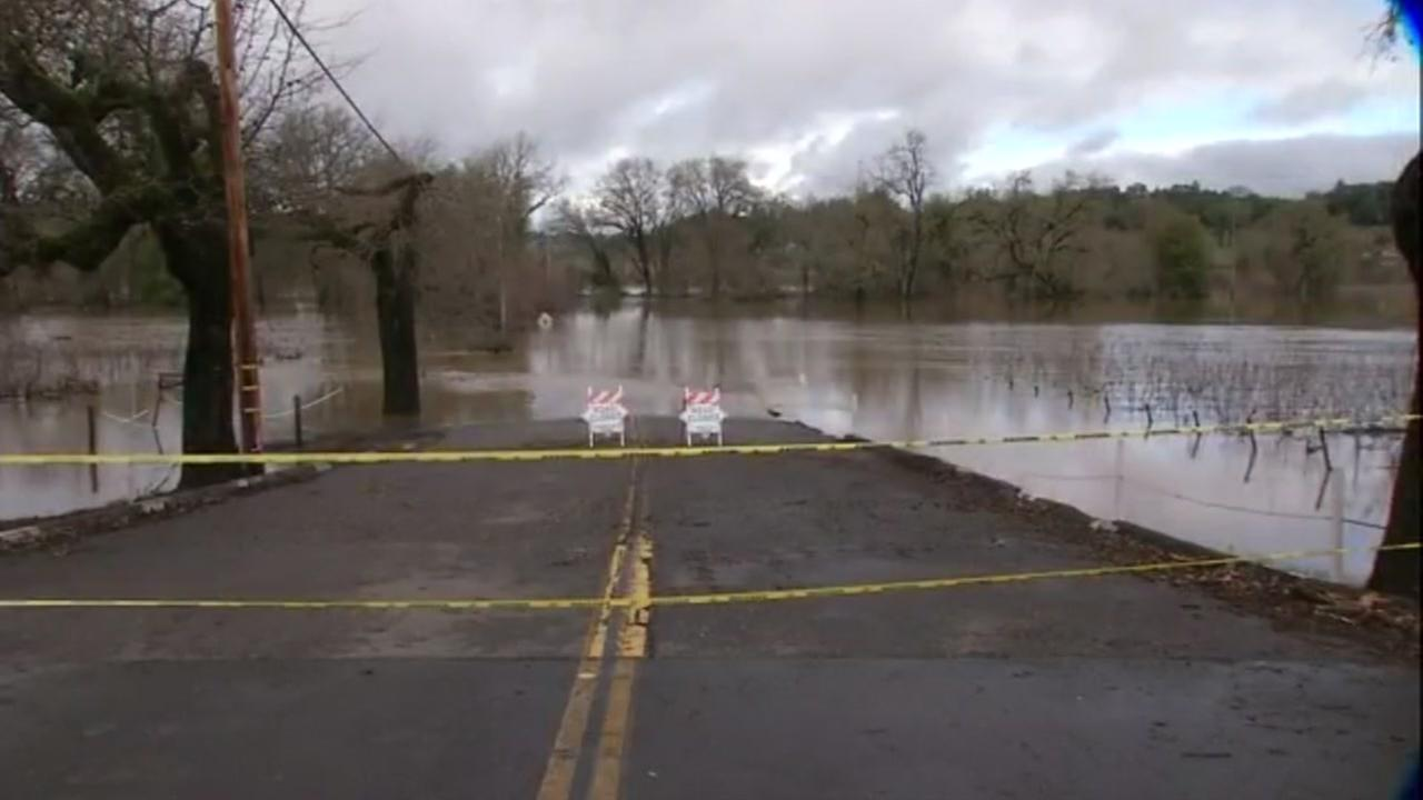 A road in Guerneville, Calif. is overtaken by the Russian River on Jan. 12, 2017.