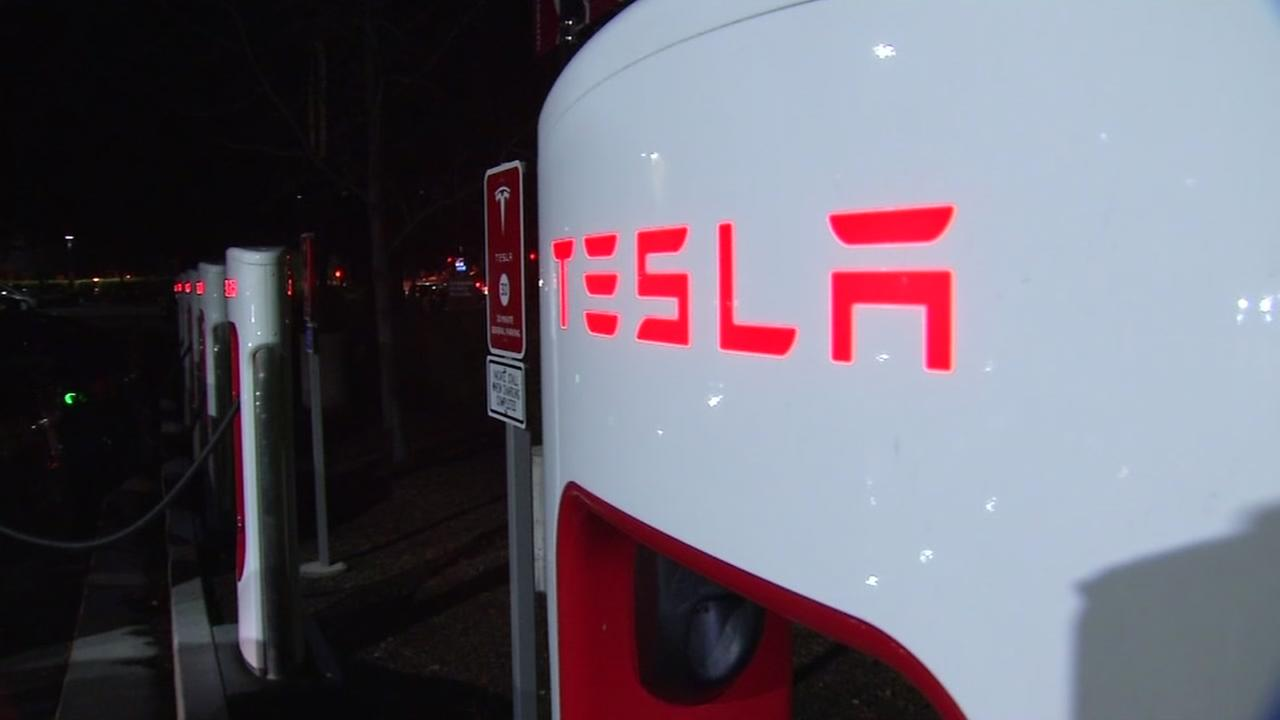 This is an undated image of a Tesla charging station in Mountain View, Calif.