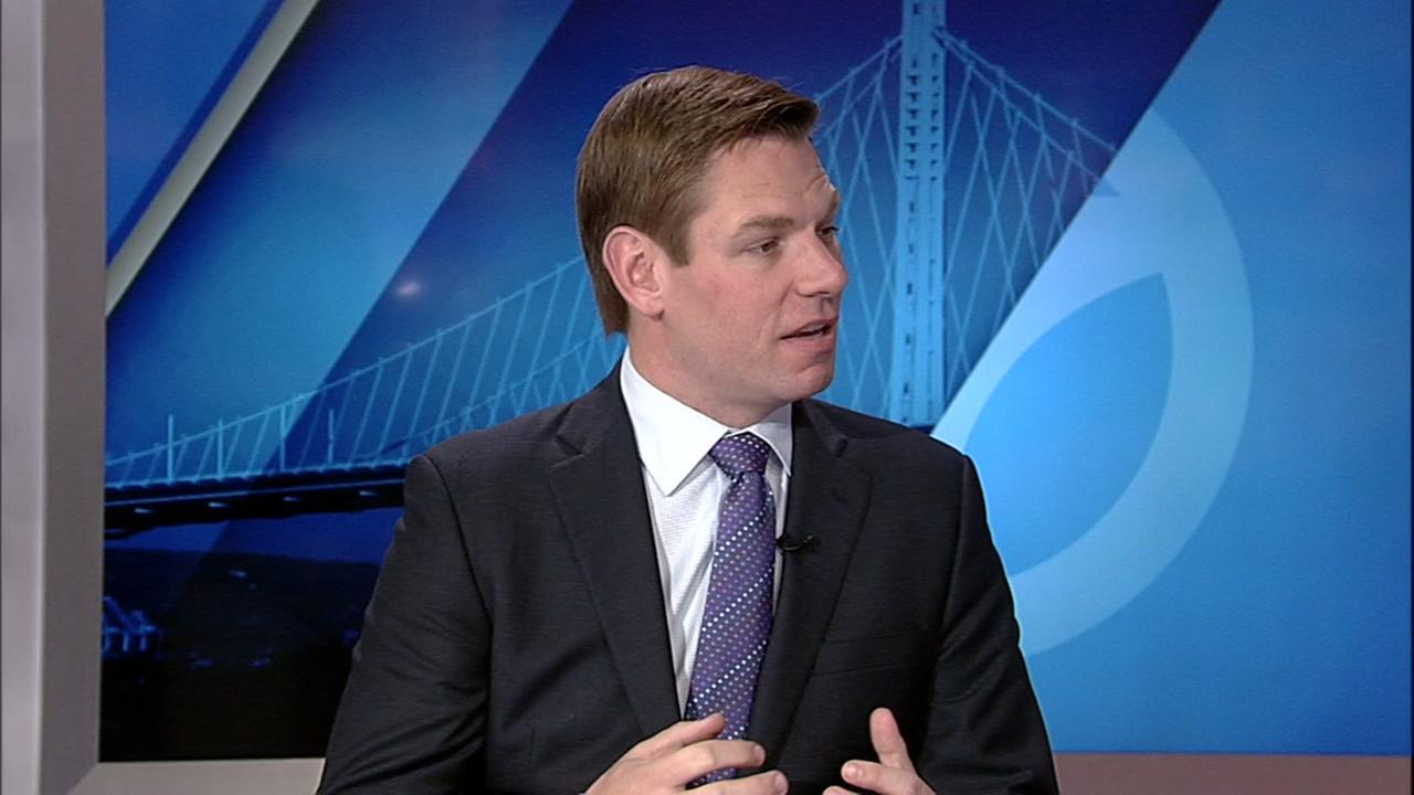 East Bay Congressman Eric Swalwell is seen during an interview at KGO-TV in San Francisco, Calif. on Sunday, January 15, 2017.