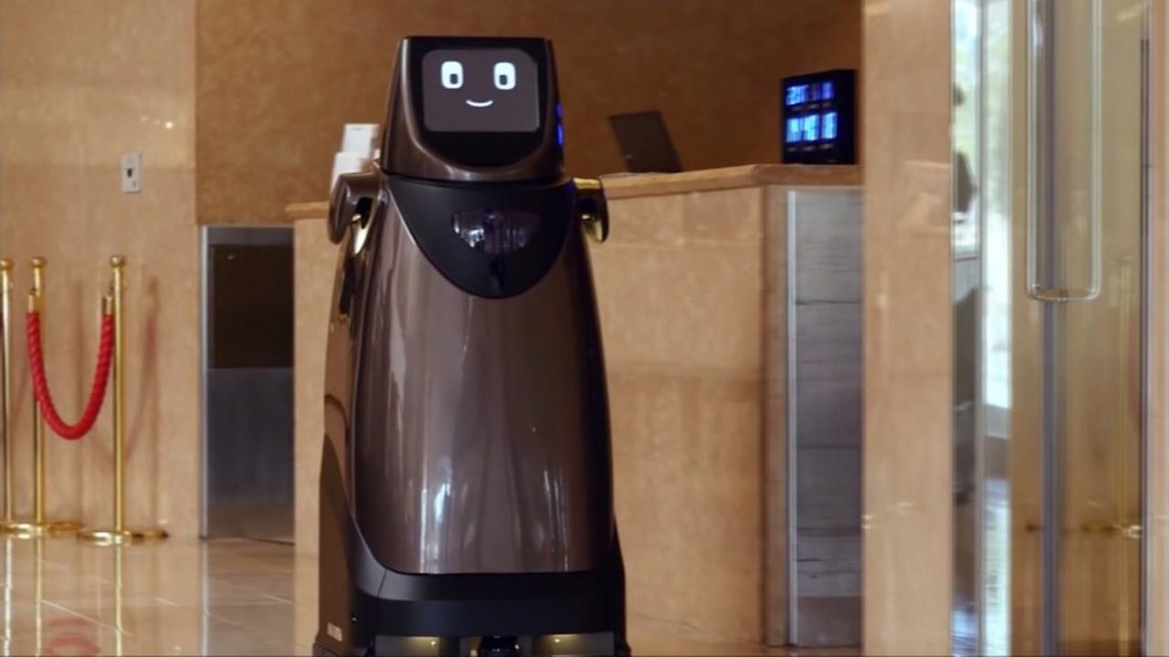 This is an undated image of the Panasonic hospitality robot in Japan.